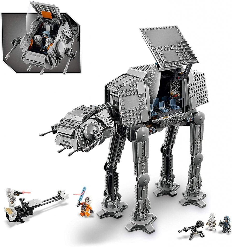 Imagen del set completo e interior del caminante AT-AT LEGO 75288