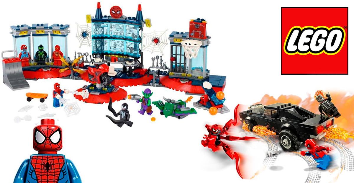 Montaje de los LEGO Attack on the Spider Lair y Spider-Man and Ghost Rider vs. Carnage