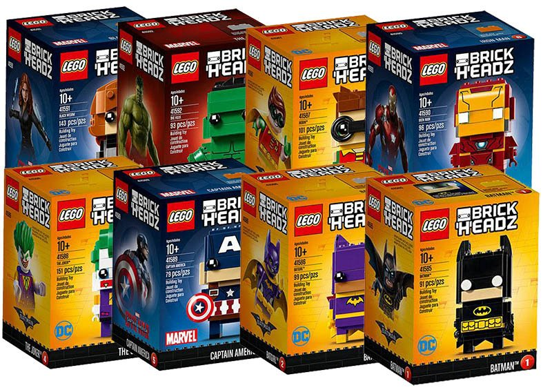 LEGO BrickHeadz BlackWidow, Hulk, Robin, IronMan, Joker, Batwoman y Batman