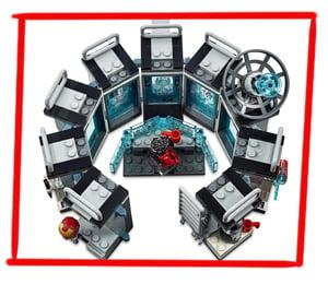 Imagen de los módulos apilables del set LEGO de la sala de armaduras de Iron Man