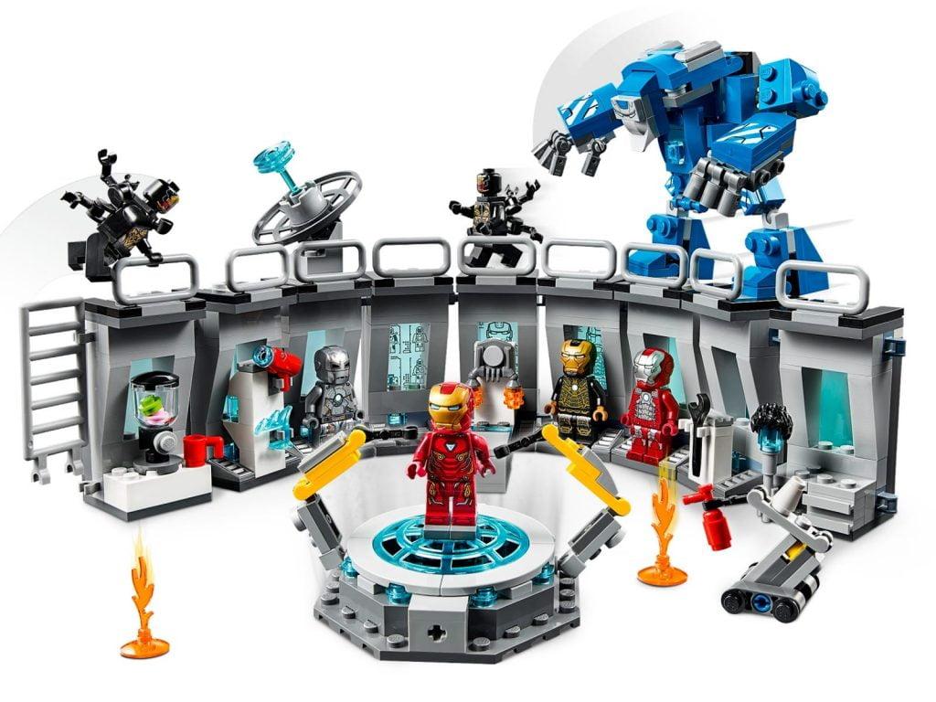 Modelo Completo de la sala de armaduras de Iron Man en LEGO