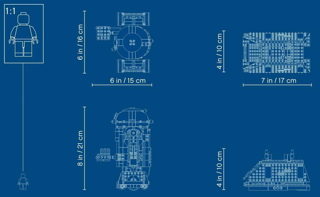 Plano de dimensiones de los diferentes droides del LEGO R2-D2 Star Wars Boots: Comandante Droide (75253)