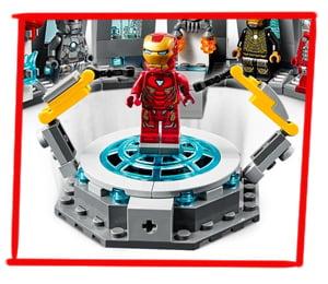Plataforma giratoria de la sala de armaduras LEGO de Iron Man
