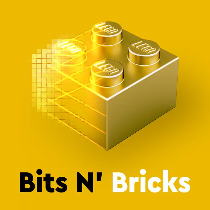 Logo del podcasts, 'Bits N' Bricks, para celebrar el 25 aniversario del del lanzamiento del primer videojuego de LEGO Group