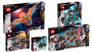 Imagen montaje de cajas de LEGO Marvel Infinity Saga