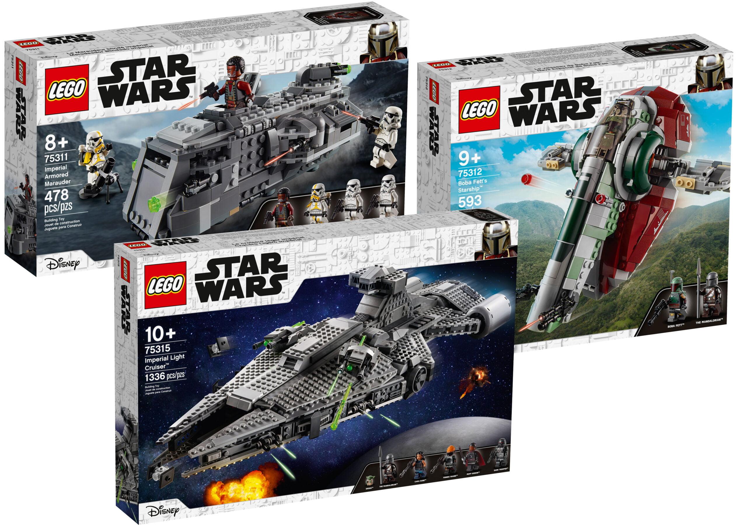 LEGO Star Wars 75315 Crucero Ligero Imperial, 75312 La nave estelar de Boba Fett y 75311 Imperial Armored Marauder